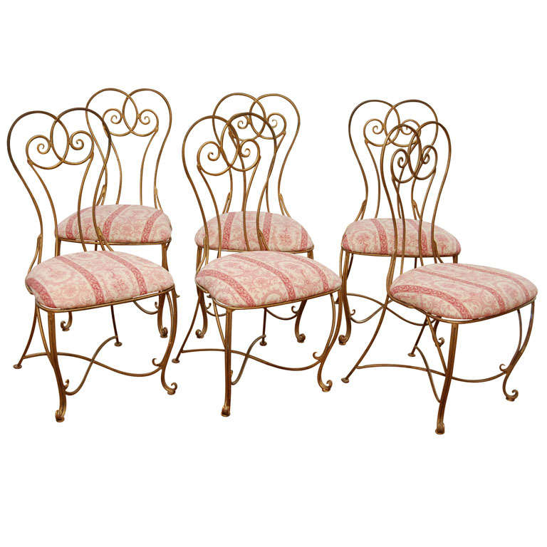 Set of six wrought iron french bistro chairs at 1stdibs for Wrought iron cafe chairs