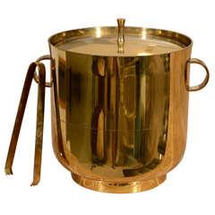 Tommi Parzinger Brass Ice Bucket + Tongs
