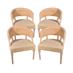 Set of 4 Swedish Gustavian Barrell Back chairs