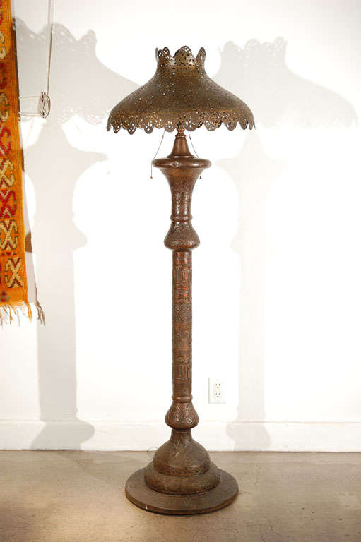 Middle Eastern Moorish Syrian Brass Pierced Floor Lamp For