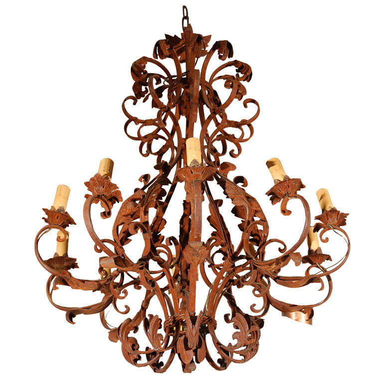 Large French Antique Iron Chandelier