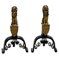 Pair of English Cast Bronze and Iron Lion Andirons with Crest, circa 1900