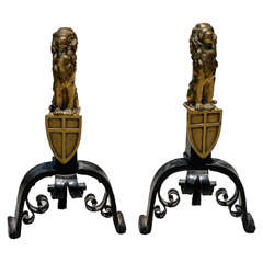 Late 19th to Early 20th Century Pair of Brass and Iron Lion Andirons
