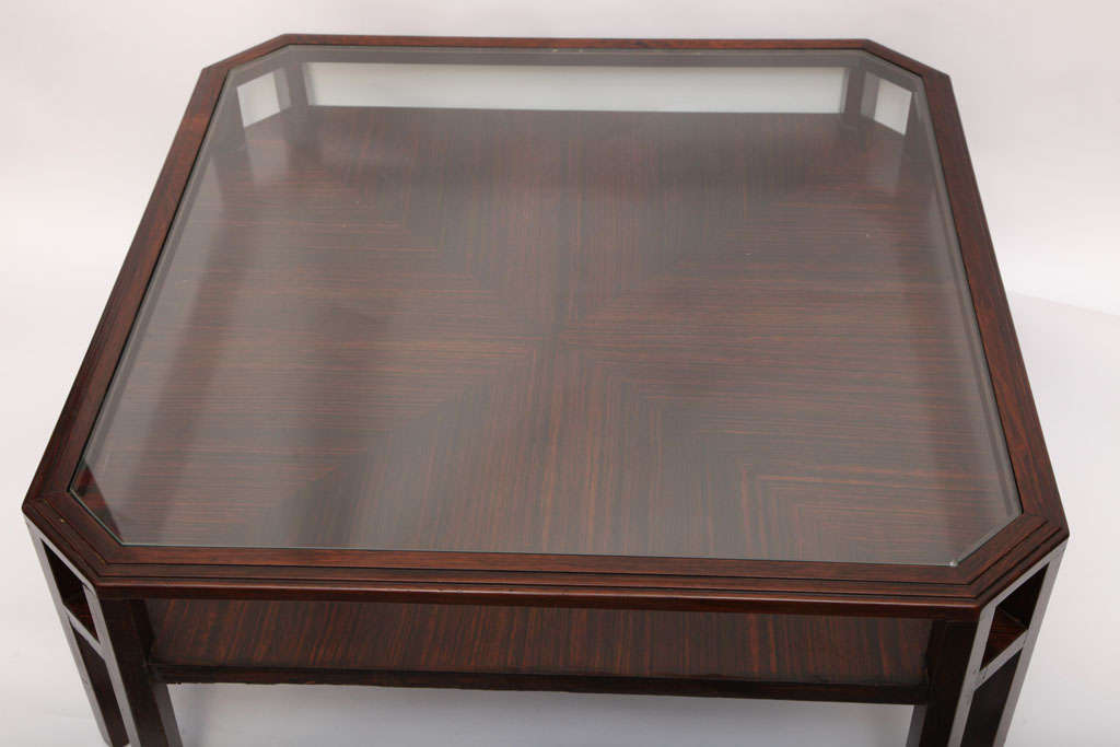 20th Century 1920s French Modernist Macassar Ebony Low Table For Sale