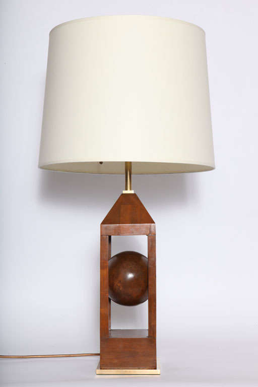 pair of 1930s architectural wood and brass table lamps for sale at 1stdibs. Black Bedroom Furniture Sets. Home Design Ideas