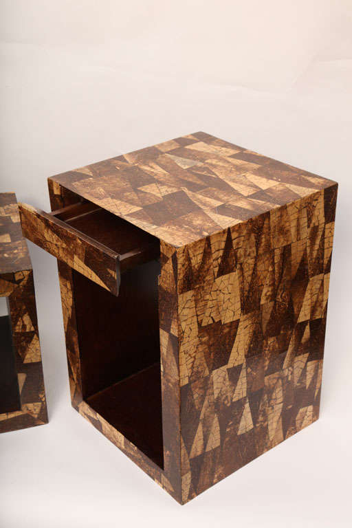 Pair Of 1970s Modernist Coconut Shell Cube Tables At 1stdibs