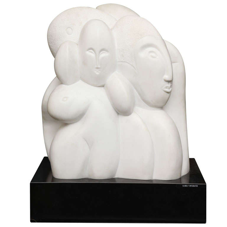 1970s Modernist Sculpture by W.P. Katz of Carrera Marble
