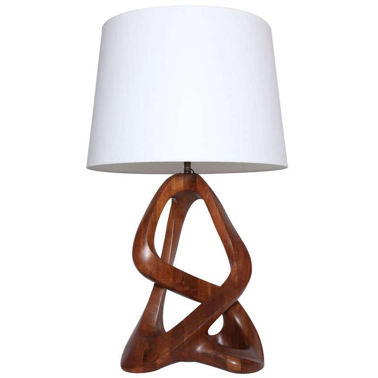 a monumental 1960 39 s sculptural hand carved wood table lamp at 1stdibs. Black Bedroom Furniture Sets. Home Design Ideas