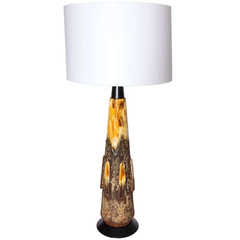 Italian 1960s Volcanic Modernist Ceramic Table Lamp