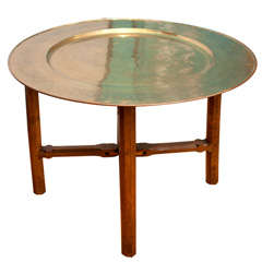 Oak and Brass Tray Table Attributed to Gordon Russell
