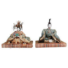 Antique Japanese Emperor and Empress Figures; Edo Period