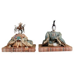 Antique Japanese Emperor and Empress Figures; Edo Period