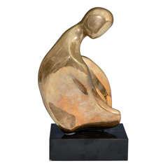 Mid Century Modernist Abstract Gilt Metal Sculpture by Ruth Russ