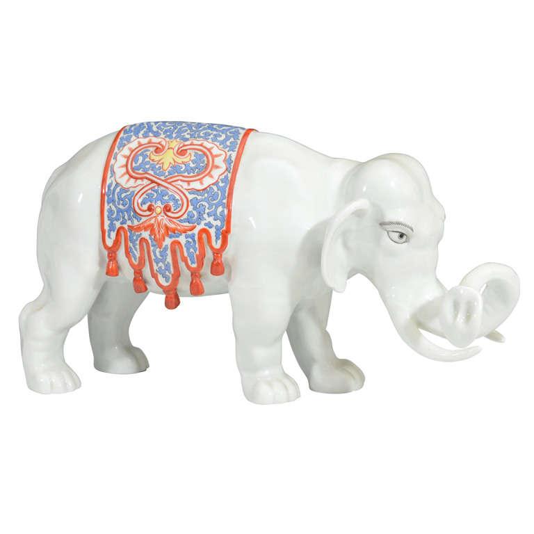 Japanese White Porcelain Elephant; Meiji Period