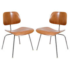 Set of 5  Mid Century Eames for Herman Miller Walnut DCM Chairs