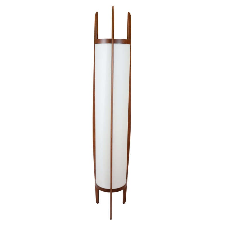 Attractive Mid Century Danish Modern Teak Floor Lamp For Sale