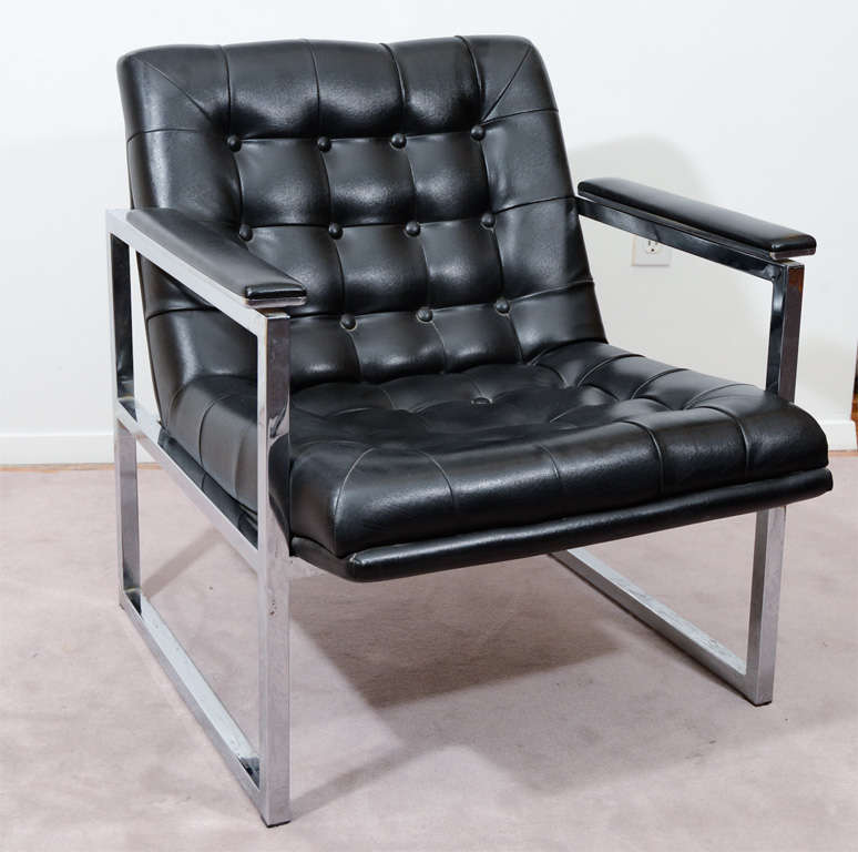 Mid Century Chrome Frame Chair With Black Tufted Vinyl Upholstery. The  Piece Is Reminiscent Of