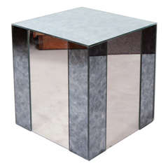 Vintage Art Deco Style Mirrored Cube Side Table