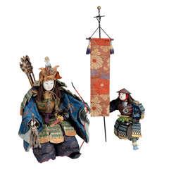 Japanese Musha Ningyo of Hyrioshi and Attendant, Edo Period