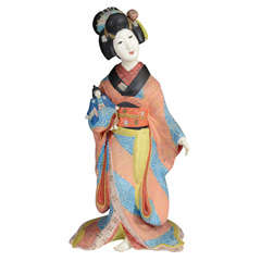 Antique Japanese Clay Figure of Young Geisha; Late Meiji Period