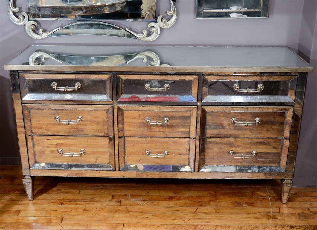 Vintage mirrored nine drawer credenza or dresser at 1stdibs for Mirror dresser