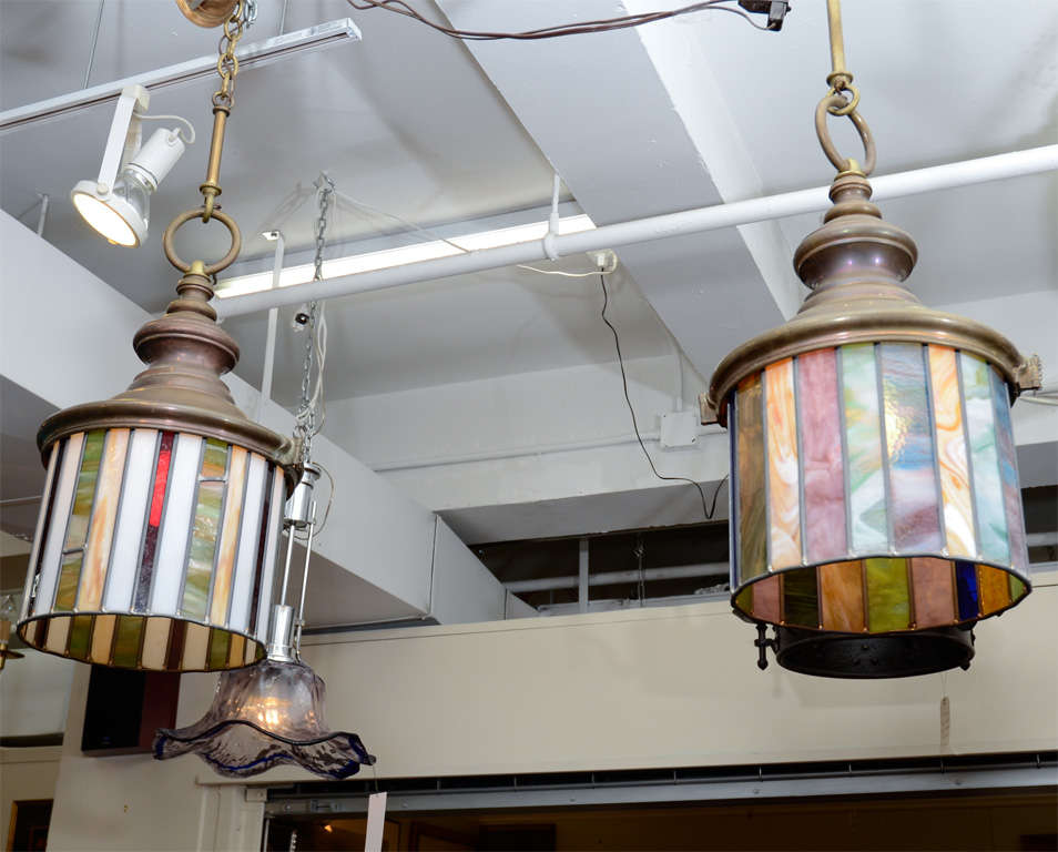 of arts and crafts stained glass hanging light fixtures at 1stdibs. Black Bedroom Furniture Sets. Home Design Ideas
