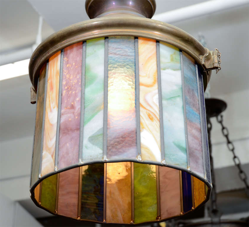 pair of arts and crafts stained glass hanging light. Black Bedroom Furniture Sets. Home Design Ideas