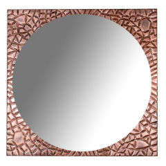 Round Mirror with Rusticated Copper Frame