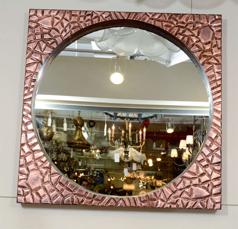 Round Mirror With Rusticated Copper Frame For Sale At 1stdibs