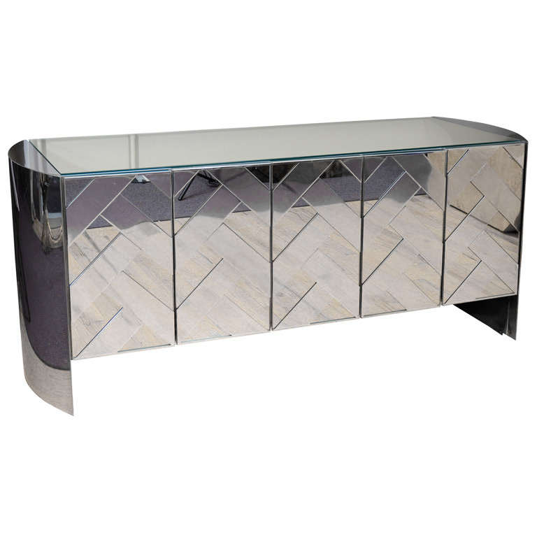 Captivating Deco Style Mirrored Credenza By Ello Furniture Co. For Sale