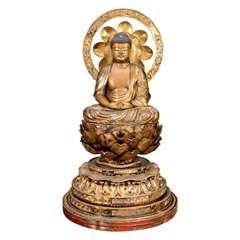 Antique Gilded Wood Japanese Buddha Sculpture; Edo Period