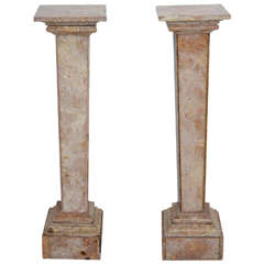Pair of 18th Century, Neoclassical, Louis XVI Style, Italian, Marble Pedestals