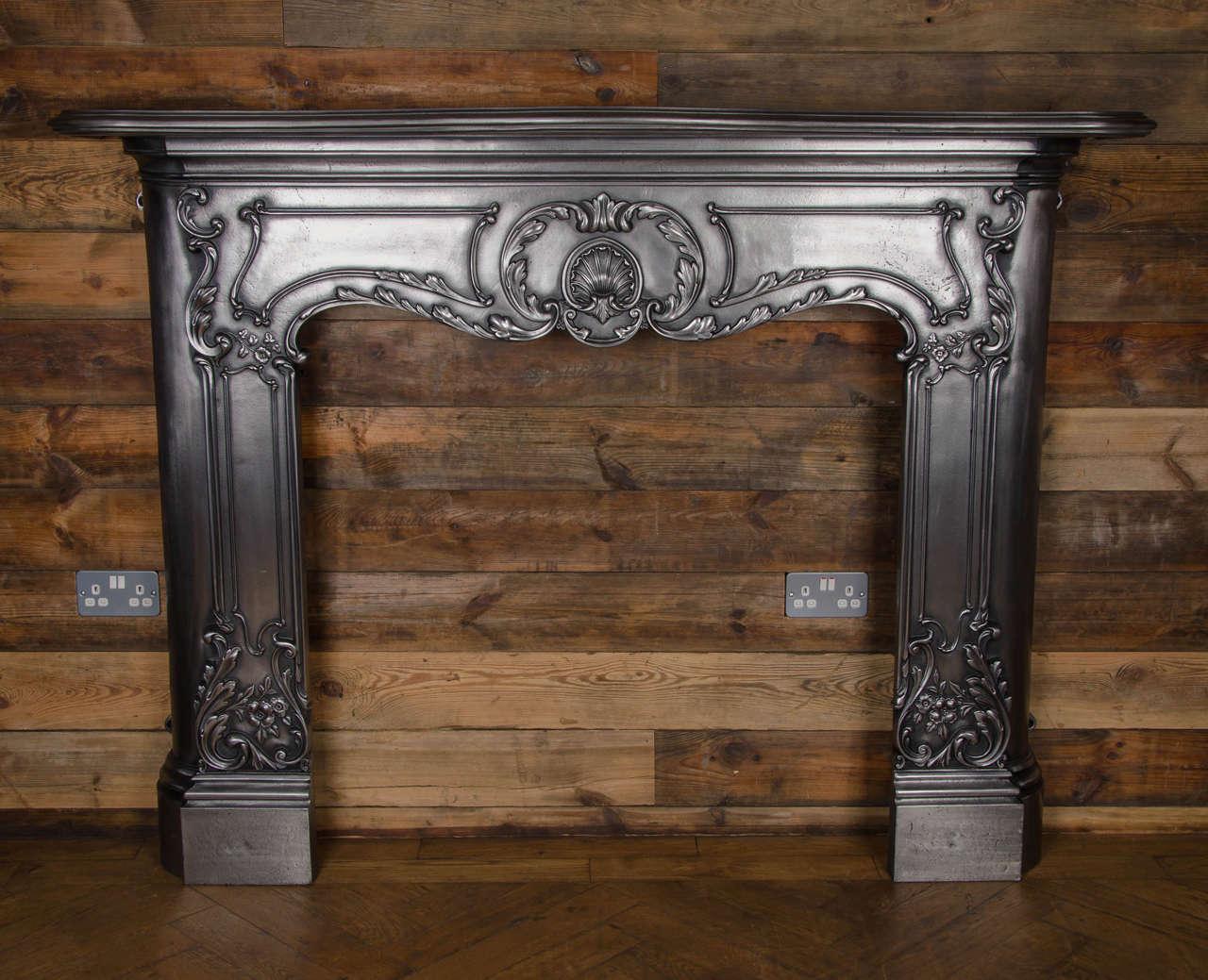 Louis Xv Style Polished Cast Iron Fireplace Surround At