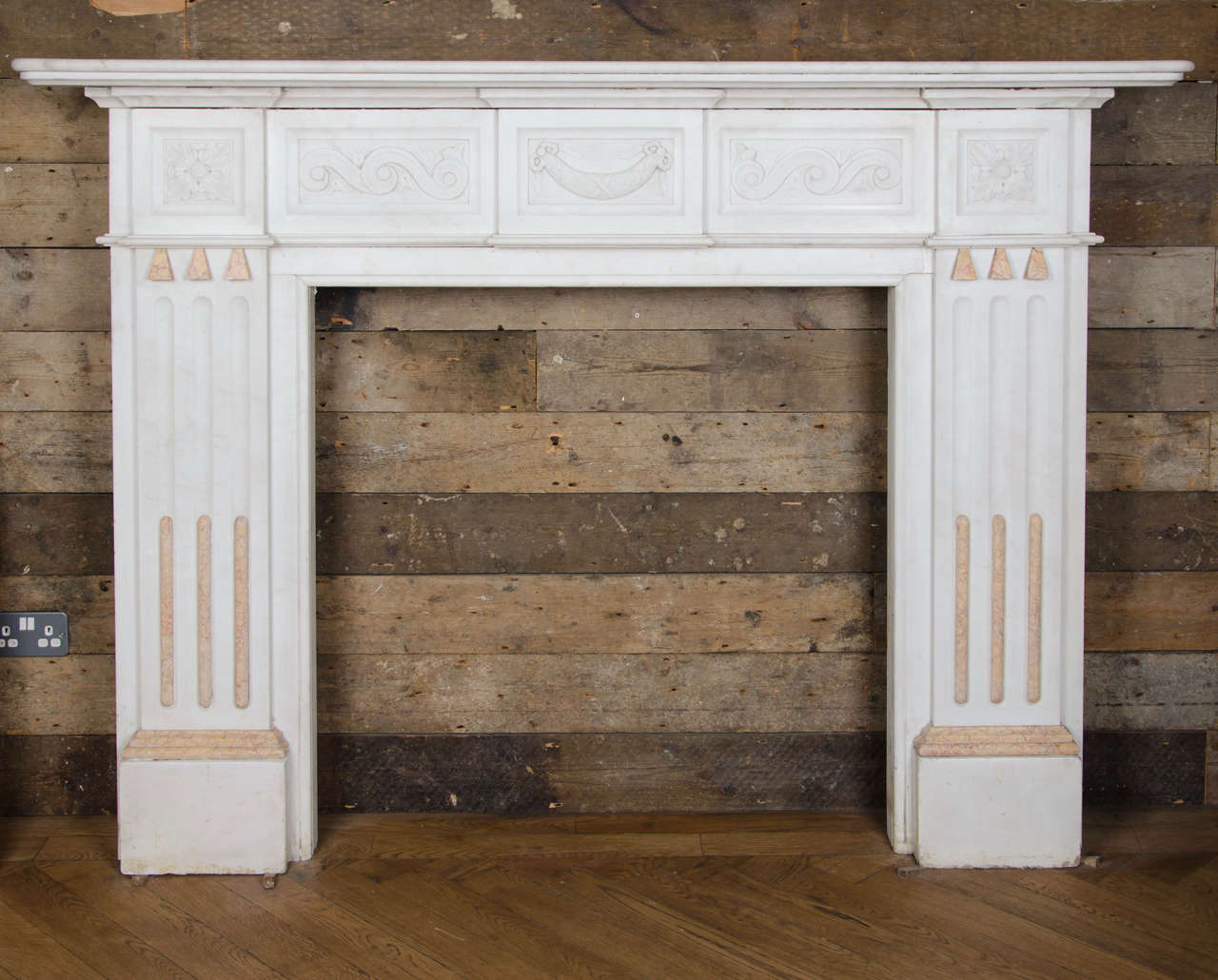 superb antique victorian statuary marble fireplace