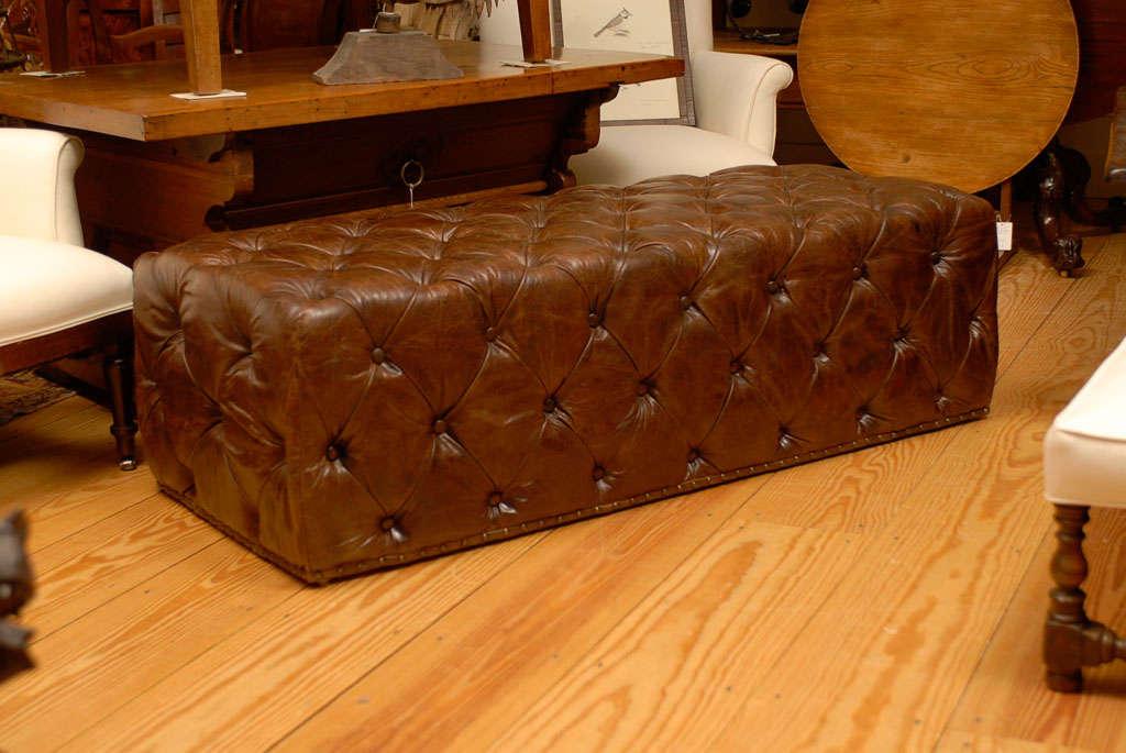 Long Leather Ottoman At 1stdibs