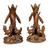 Pair of Black Forest  Carved Chicken Spills