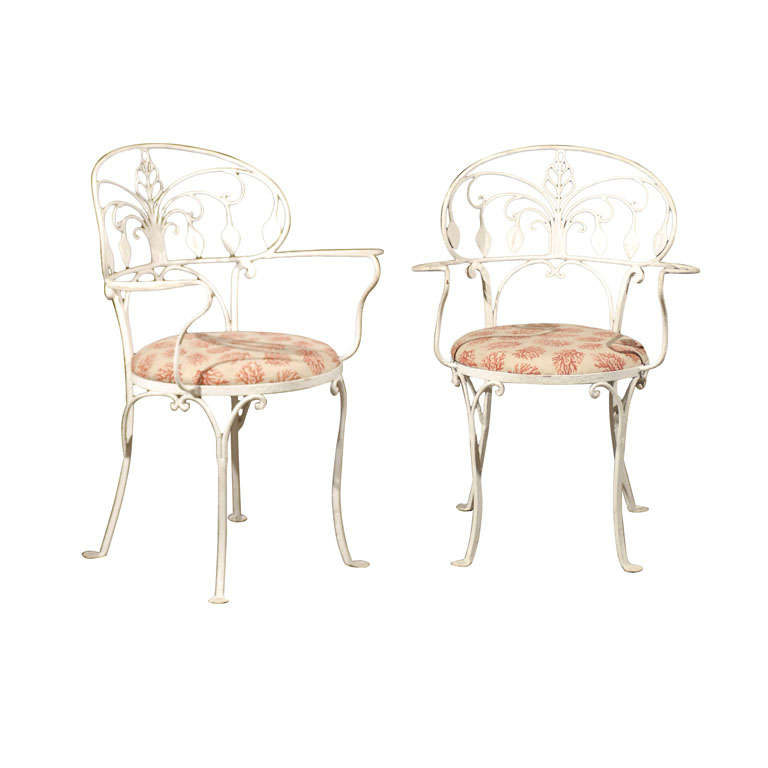 Pair of Early 20th Century American Painted Iron Garden Armchairs