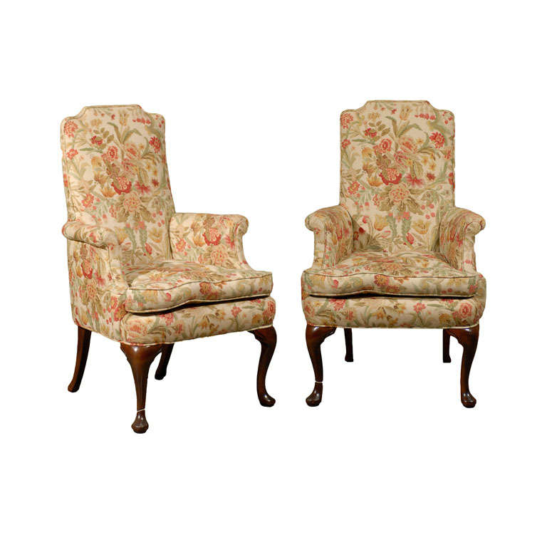 PAIR OF UPHOLSTERED HOST & HOSTESS CHAIRS For Sale