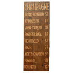 Champagne Wine Sign from France
