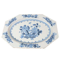 An 18th Century Antique Blue and White Dublin Delft Platter