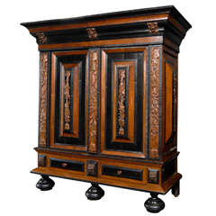 Exquisite 18th Century Swedish Period Baroque Cabinet with Raised Panels