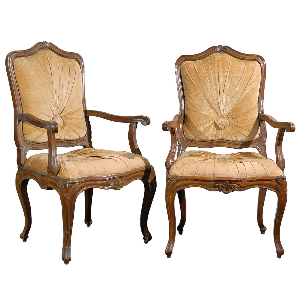 A Pair of 19th Century Italian Walnut Chairs For Sale at