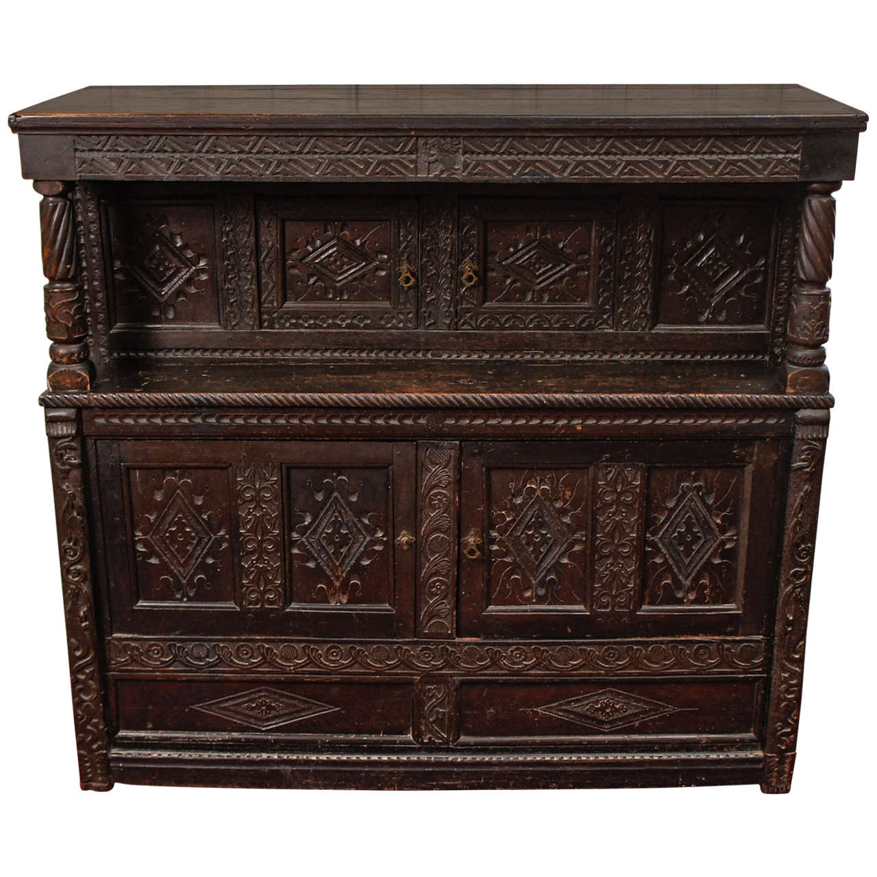 17th Century Jacobean Carved Oak Two-Piece Sideboard Cupboard For Sale
