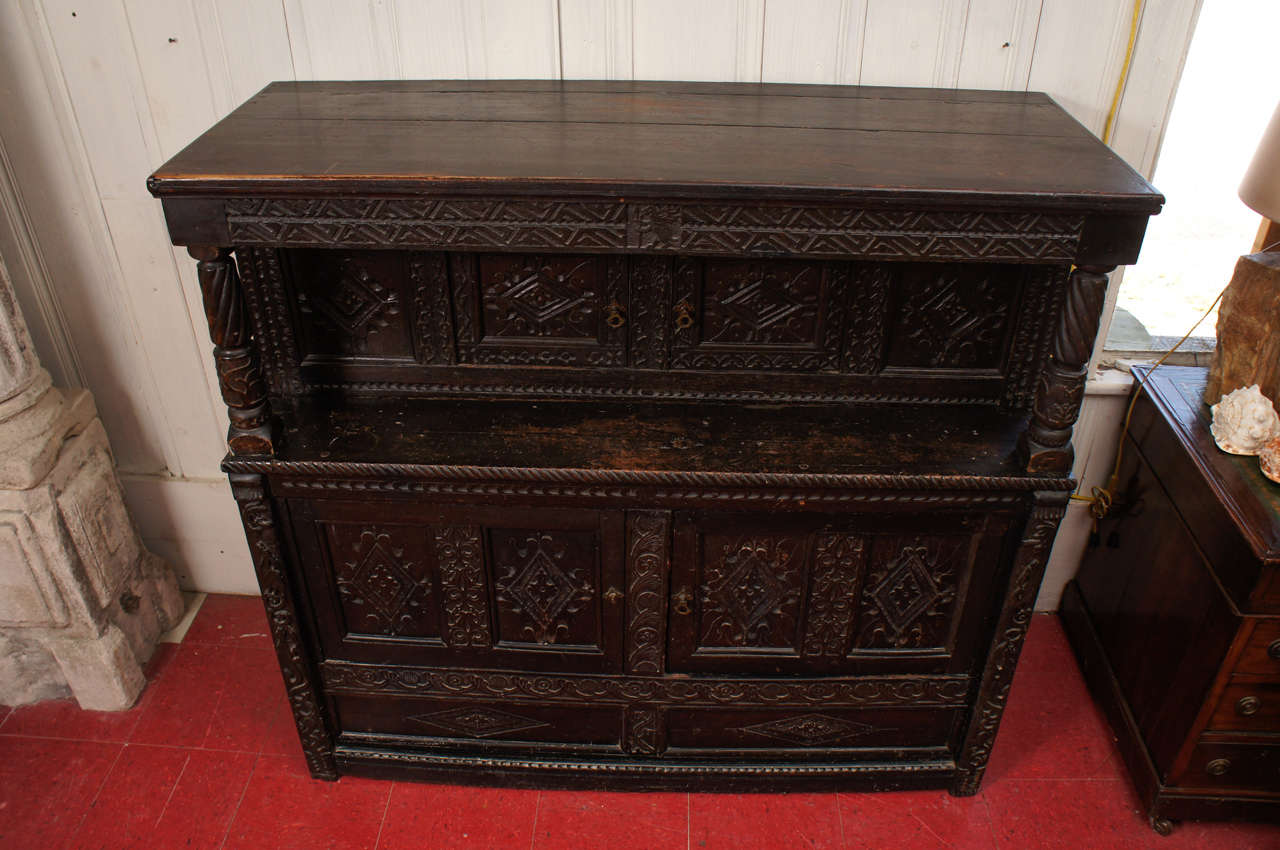 British 17th Century Jacobean Carved Oak Two-Piece Sideboard Cupboard For Sale