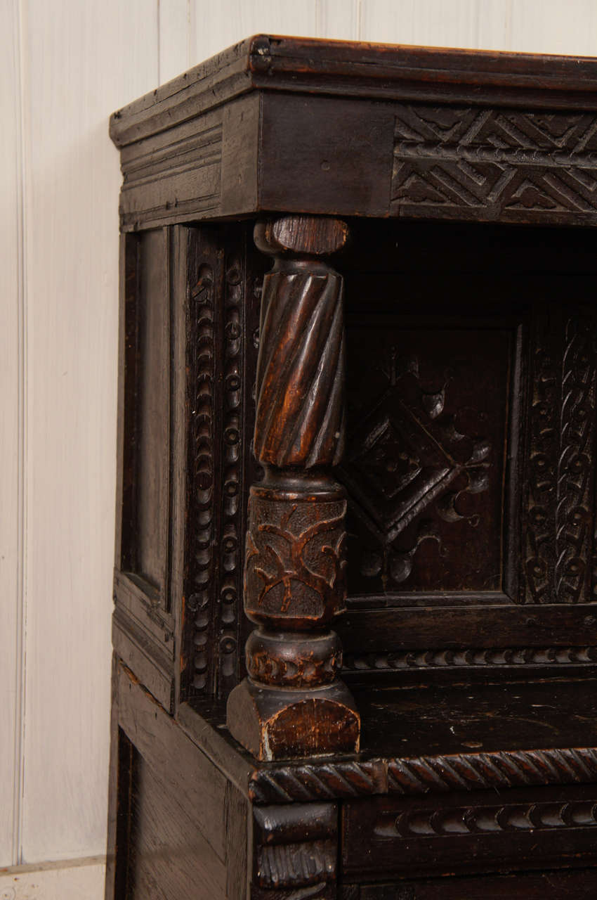 Hand-Carved 17th Century Jacobean Carved Oak Two-Piece Sideboard Cupboard For Sale