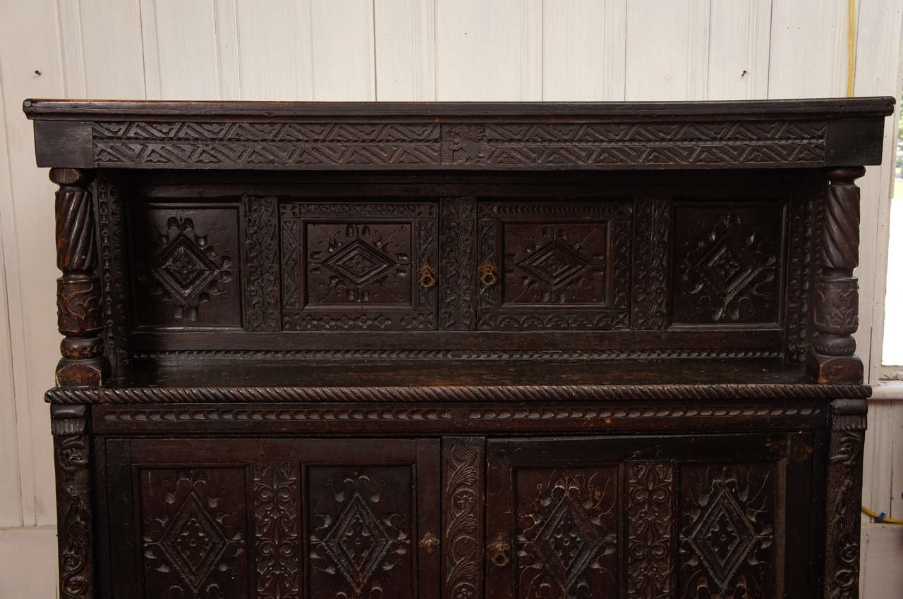 17th Century Jacobean Carved Oak Two-Piece Sideboard Cupboard For Sale 1