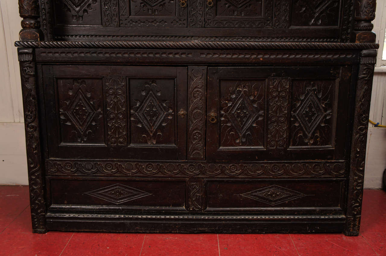 17th Century Jacobean Carved Oak Two-Piece Sideboard Cupboard For Sale 2