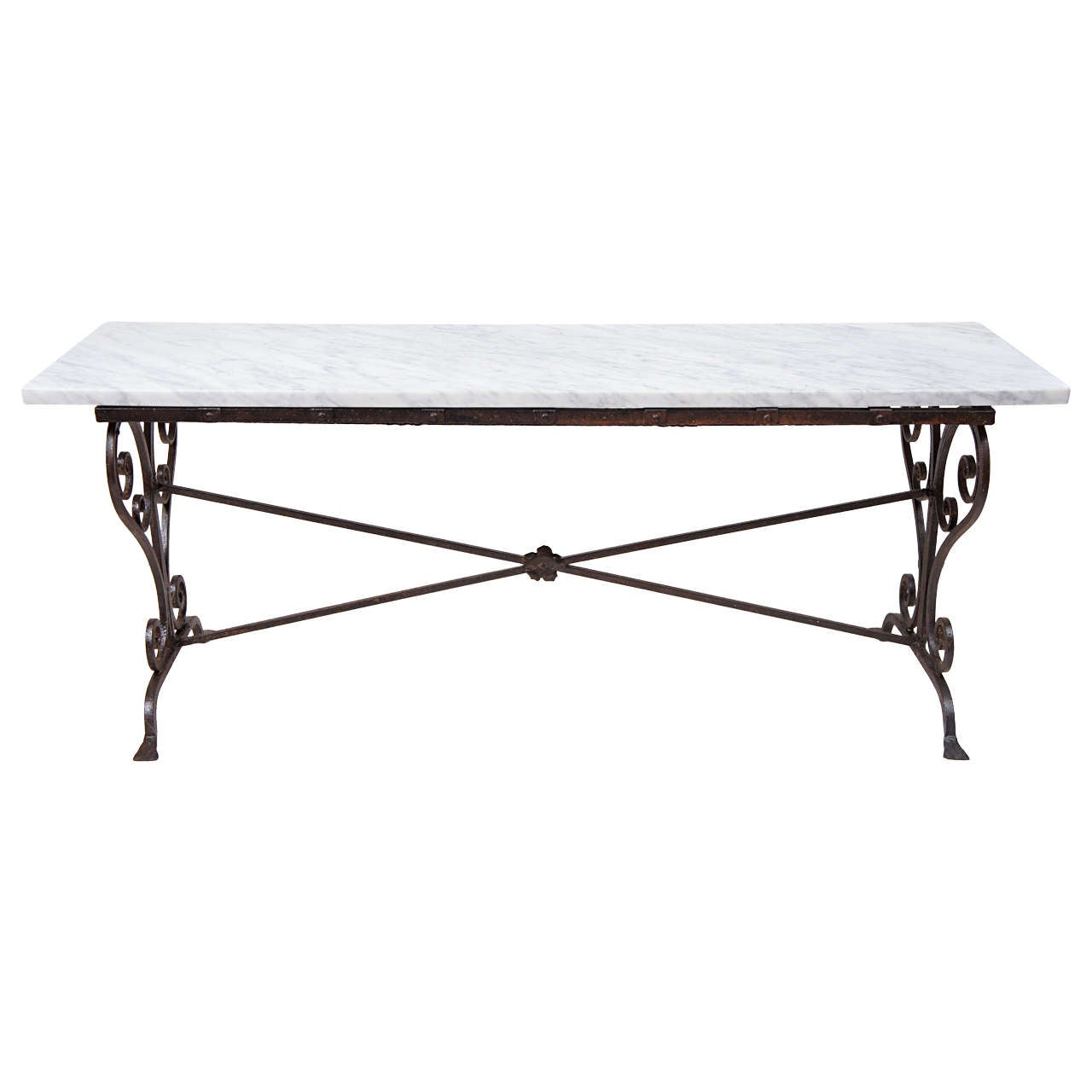Antique Wrought Iron Marble Coffee Table For