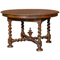 English Round Table with Barley Twist Legs