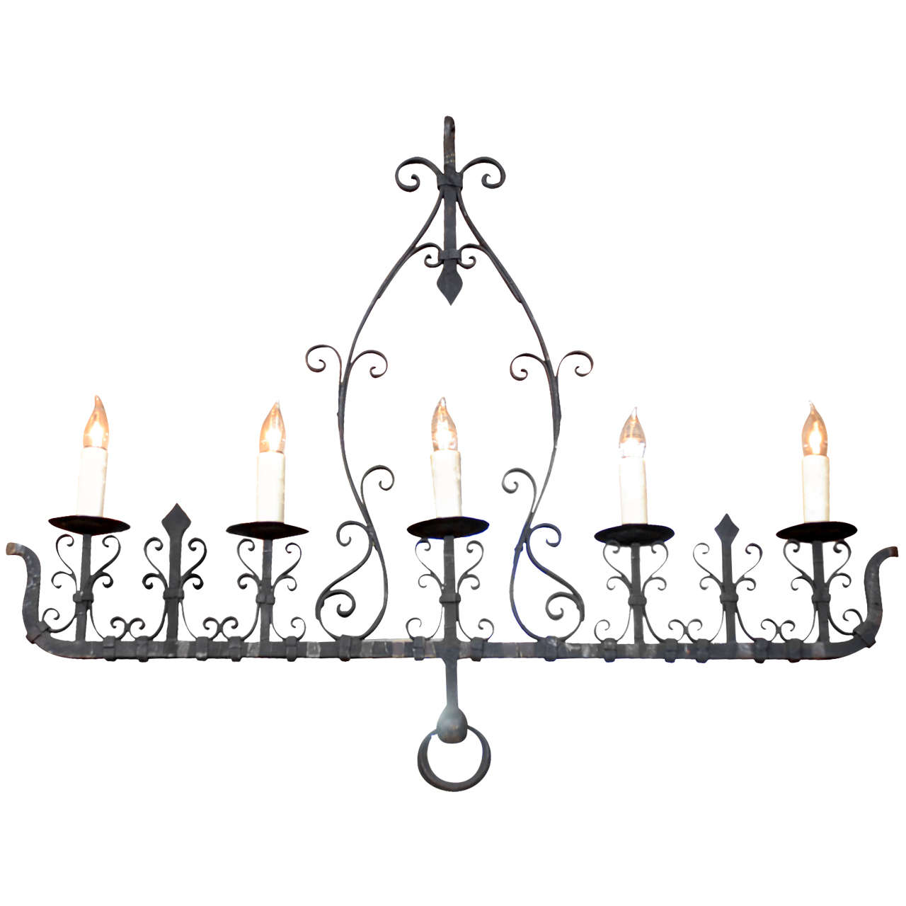 French 1940s, Wrought Iron Five-Light Linear Chandelier with Scrolled Décor